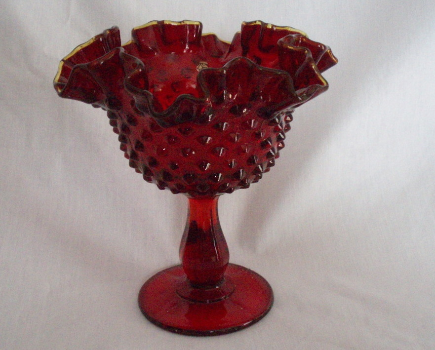 Fenton 6 inch  red gold crest hobnail footed compote 3628 RU
