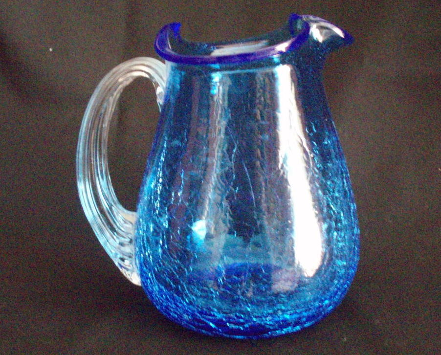 cobalt blue crackle glass handled pitcher Blenko