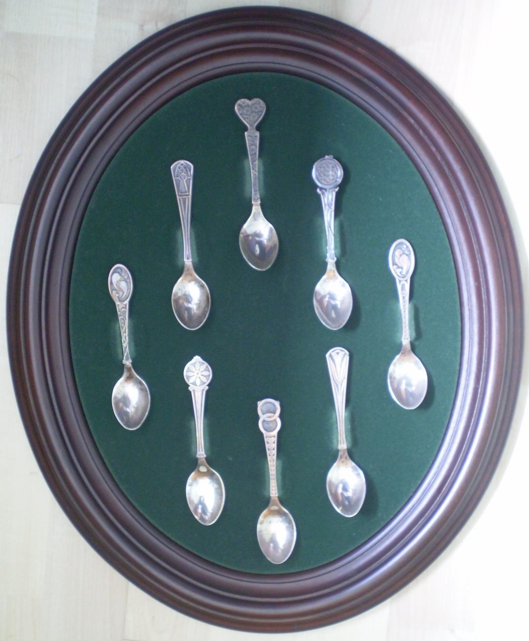 Franklin Mint Sterling Silver Love Spoons Set Frame Welsh 1976 Display Frame