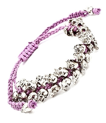 SILVER SKULL PARTY BRACELET - Purple