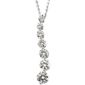 1.5 cttw Moissanite Pendant Necklace 14k White Gold 18""