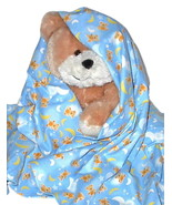 Teddy Moon Flannel Baby Blanket, infant handmad... - $12.95
