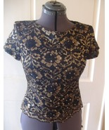Womens dress blouse top shirt black lace w gold... - $7.00