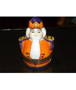 Vintage Trinket Box Bearded Royalty Orange Whit... - $12.00