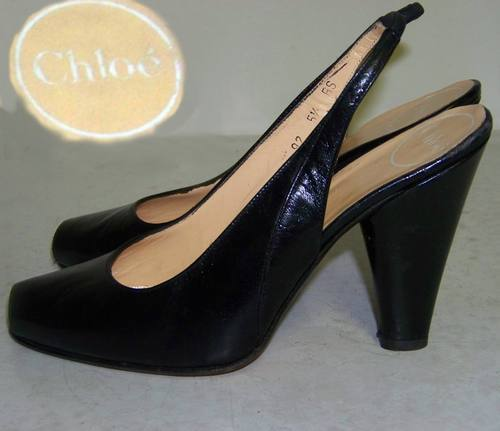 "CHLOE black leather sling back peep toe 4"" heels 5.5"