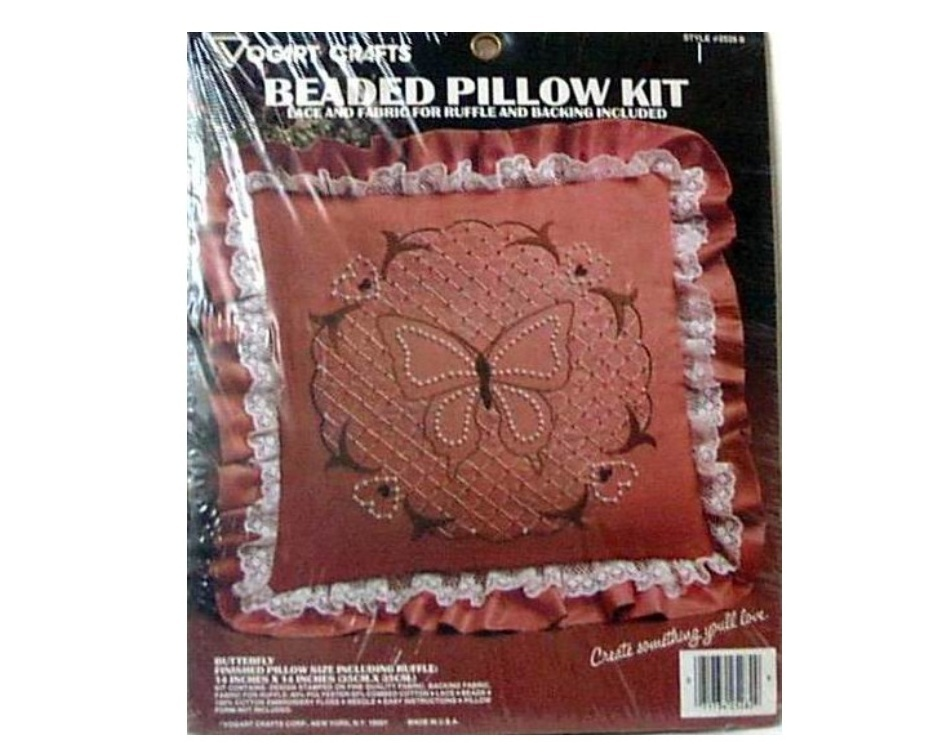 Vogart Crafts Beaded Pillow Kit Butterfly Embroidery