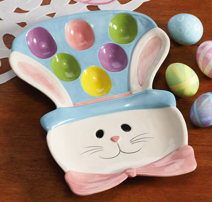 Easter Egg Bunny Ceramic Serving Platter