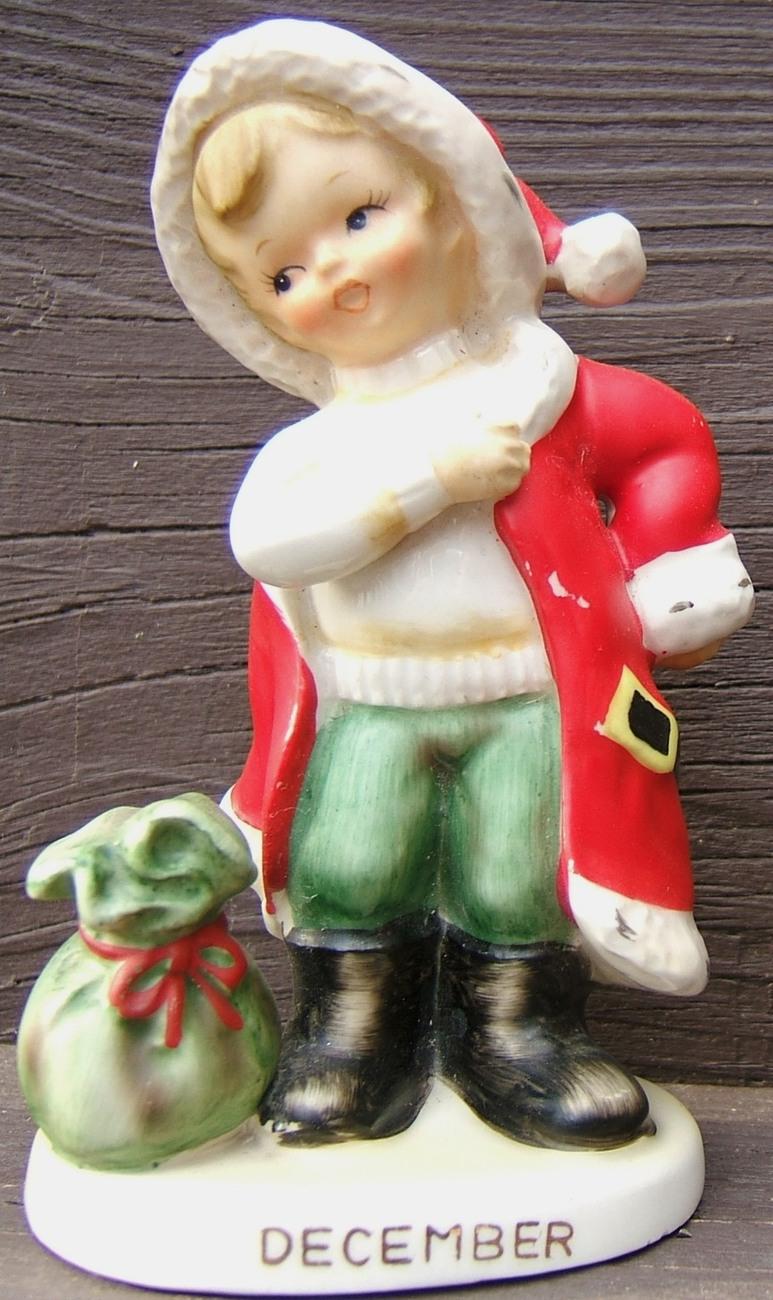 Vintage lefton december christmas santa claus boy ceramic