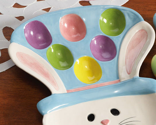 Image 1 of Easter Egg Bunny Ceramic Serving Platter