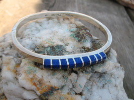 Lapis Compression Bracelet Taxco Mexico Sterlin... - $49.00