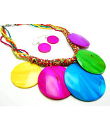 16 inch Long colorful Large shell necklace and ... - $20.00