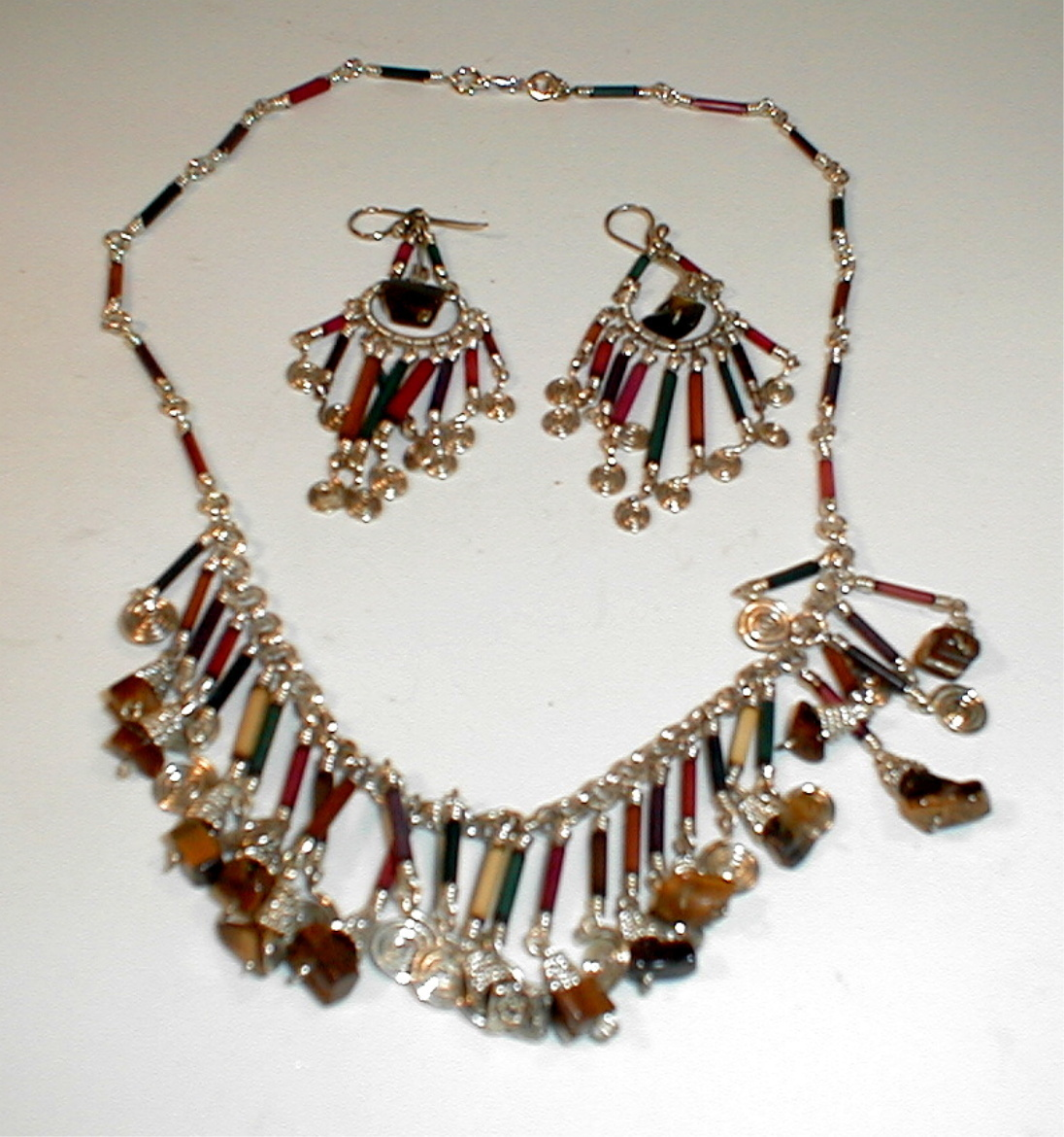 Necklace and Earring Set Matching Silver and Tiger Eye