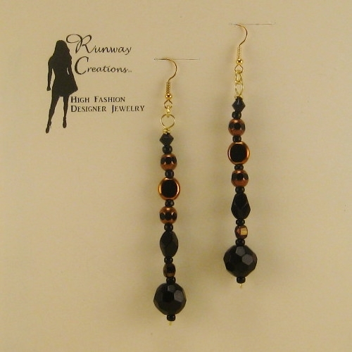 Sophisticated Black Mix Glass Drop Earrings
