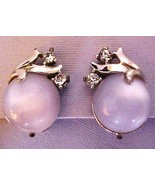 FREEBIE Power Blue Moonglow & Rhinestone earrin... - $0.00