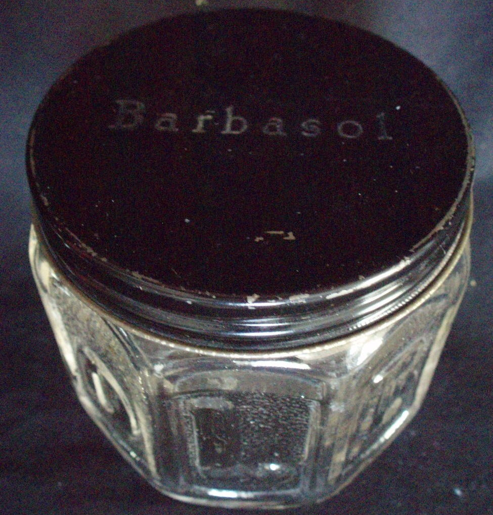 Barbasol shaving cream jar advertising barber vintage