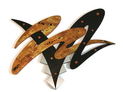 Sleek Contemporary Modern Brown Abstract 4x3 Wall Sculpture