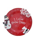 I Love Snow Days Cracker Barrel Ceramic 3D Christmas Platter or Plate
