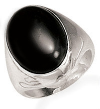 BLACK ONYX RING , BOLD 15MM OVAL CENTER STONE IN .925 STERLING SILVER RING, SZ 9