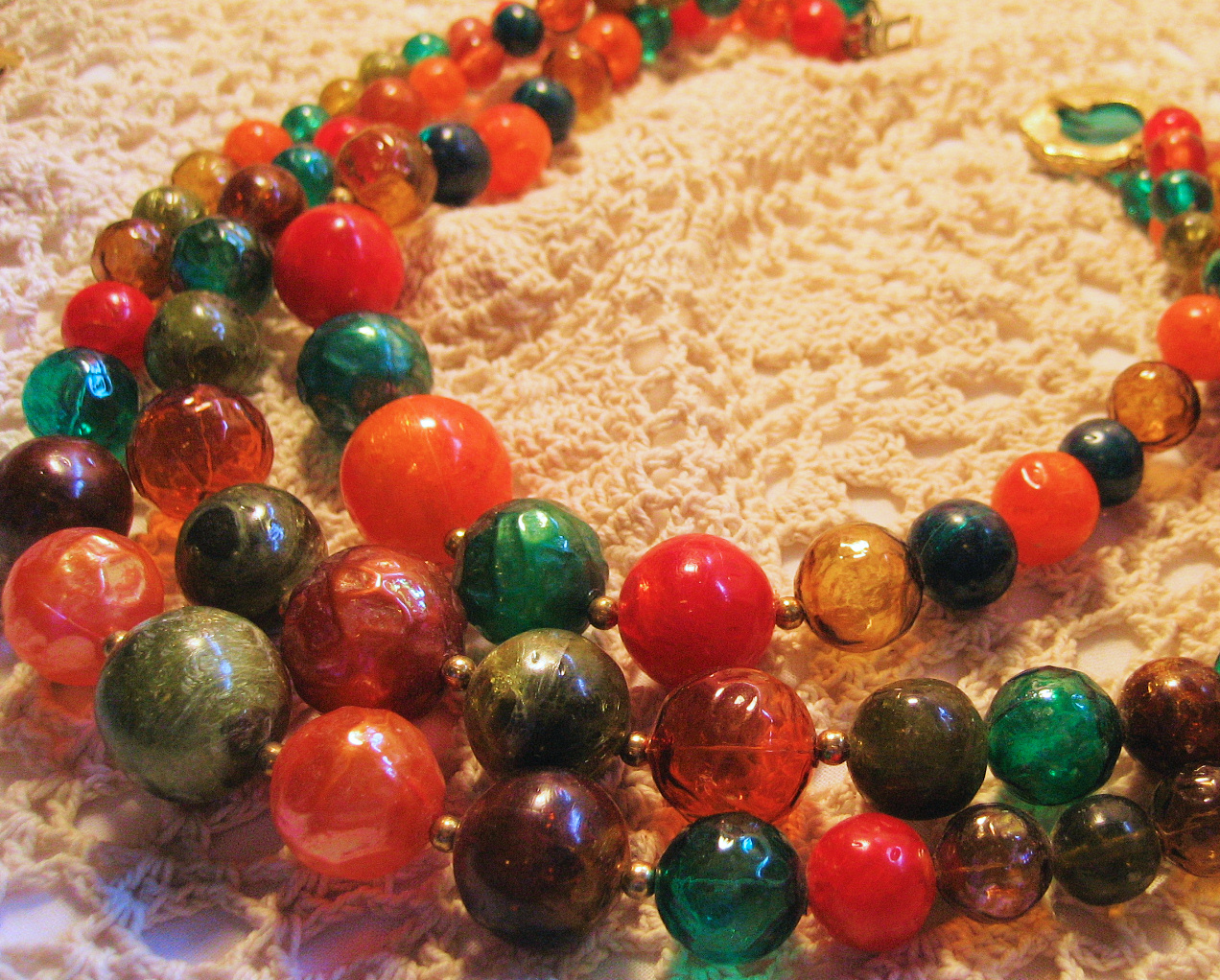 Orange Green Gold Browm Beaded 3 Strand Necklace  Vintage Hollow Plastic