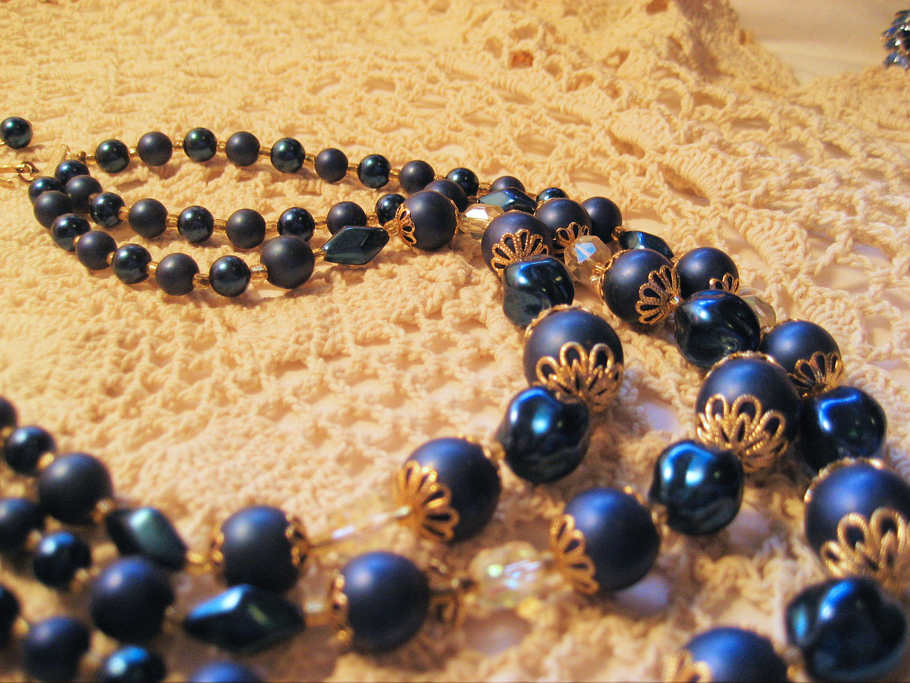 Navy Blue and Gold Beaded 3 Strand Vintage Necklace  Crystals