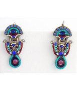 Signed ADAYA Maya Crystal Beads Mosaic Earrings - $63.00