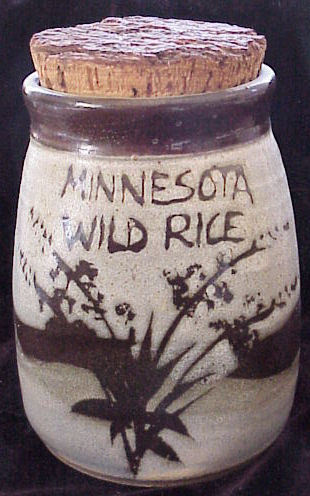 Hand Made Pottery Minnesota Wild Rice Jar with Cork Lid