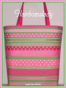 Lime Pink Tote Bag Diaper Cosmetic 3PcSet XL X Tall Dot
