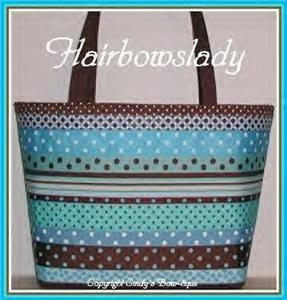 Brown Blue Diaper Bag Tote Aqua Chocolate Ribbon XXL