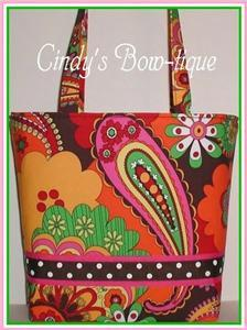 Purse Tote Bag Paisley 6 Pc. Set Orange Pink Lime Brown