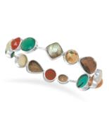 Chunky Colorful Multistone Bangle Bracelet - $249.95