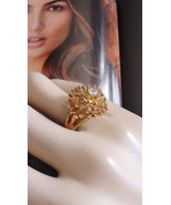 Retro 60s Cluster Ring 18k Yellow Gold HGE Cock... - $28.00