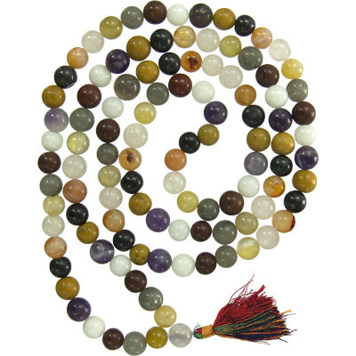 BEAUTIFUL MULTI GEMSTONE TIBETAN MEDITATION JAPA MALA~PERFECT FOR YOGA SADHANA~