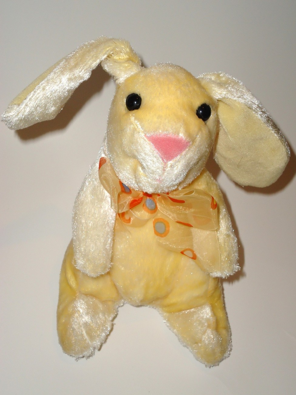 Walmart Easter Bunny Plush Stuffed Animal Yellow Orange Polka Dot Bow