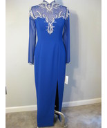 Royal Blue And Silver Beaded Sequin Gown Size 8... - $92.00