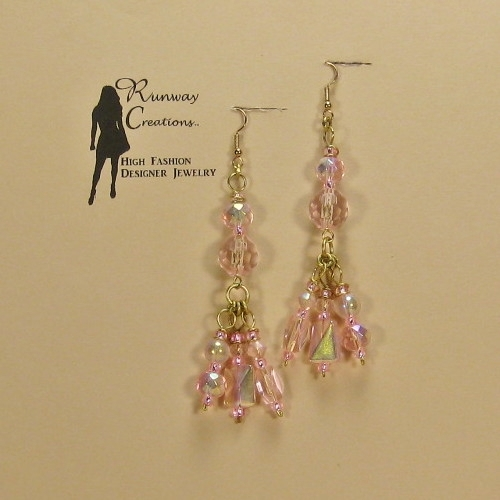 Beautiful, Bold & Trendy Pink Mix Glass Droplet Earrings