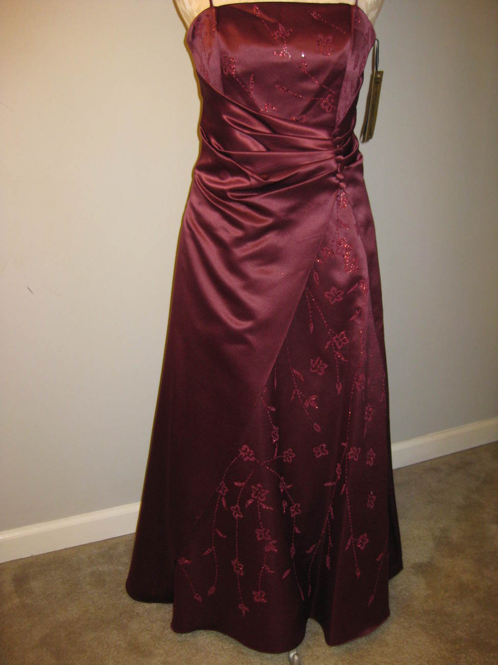 Formal Burgundy Satin Caviar Design Gown Size M NWT