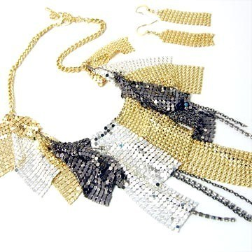 Sexy Hematite Gold EP Mesh CZ Chains Cascade Drop Chunky Necklace Set NP06