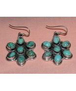 Seven Cabochon Turquoise and Sterling Silver Ea... - $30.00