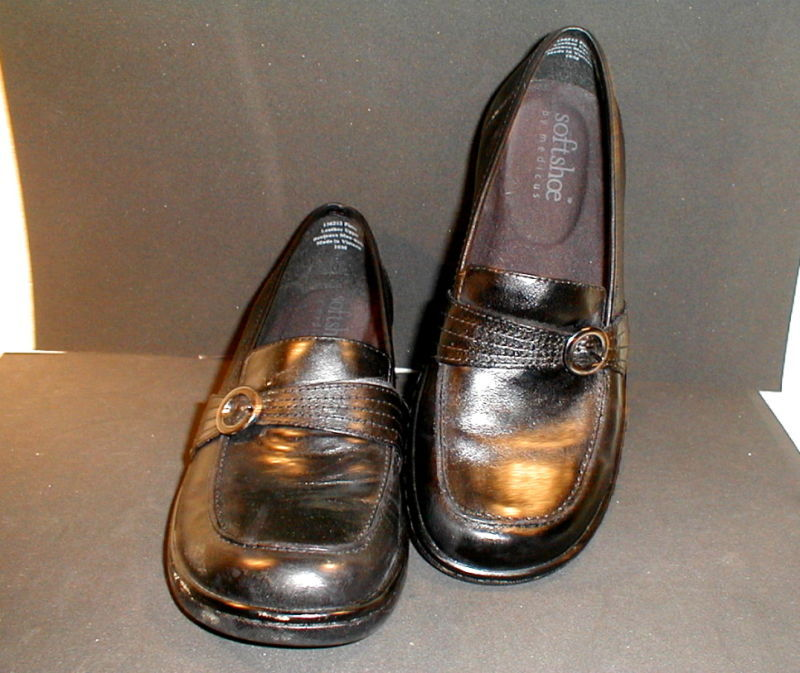 Womens Loafer Black Leather With Buckle Softshoe Size 10
