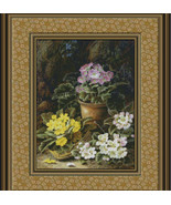 Potted African Violets and Primulas, Cross Stit... - $25.00