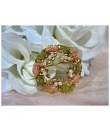 Vintage Wreath Circle Pin Green & Coral w/Faux ... - $14.00