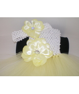 BABY GIRL LONG YELLOW AND WHITE TUTU DRESS WITH... - $20.00
