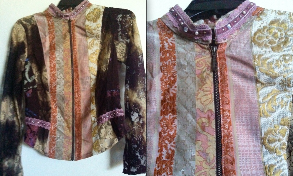 FEMMES JE VOUS AIME Paris French designer Made in France brocade jacket blouse