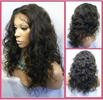 "Hot length ""curly Malaysia"" 16 inch India remy bud silk wig"