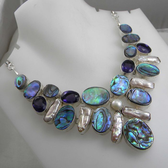 Amazing Genuine Abalone Amethyst Biwa Pearl 925 Silver Necklace 18 ""