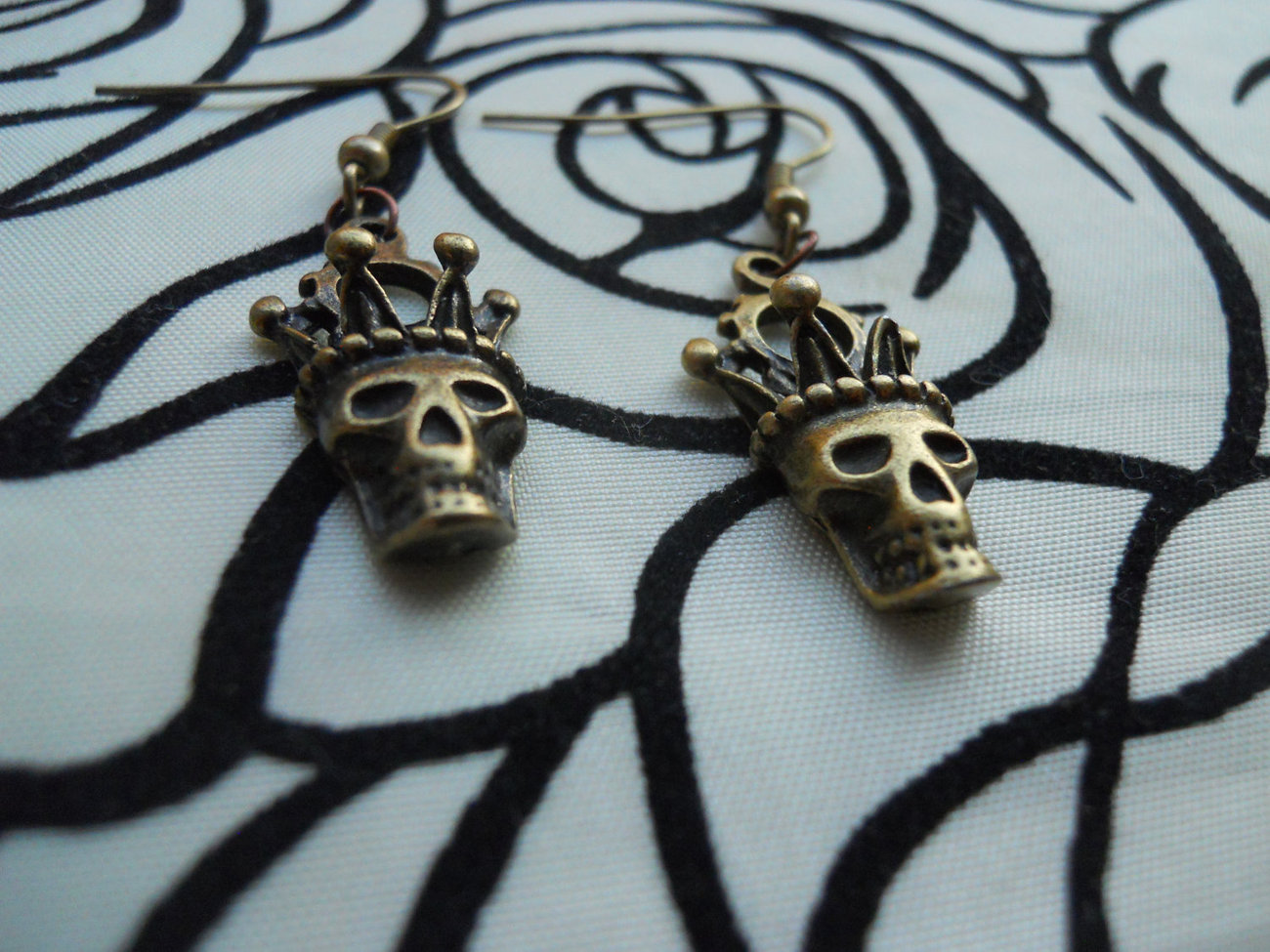 Crowned Skull Handmade Earrings