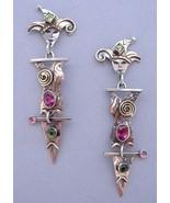 Jester Earrings Tourmaline Peridot Unique Handc... - $325.00