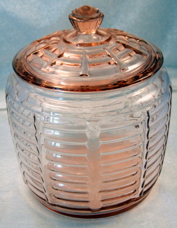 Hocking Cookie Jar Pink Depression Glass w Lid Paneled Rib Pattern