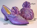 Opulent Shoe Set Plus Purse QVC Exclusive Purple with Rhinestones Just the Right