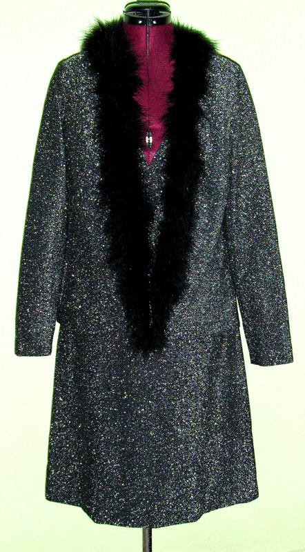 Glittery 70's Vintage Frederick's of Hollywood Dress Jacket Lingerie Boa